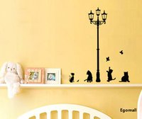 bathroom decor cats - 2pcs Cats Lamps Home Decor Wall Stickers for Kids Rooms Novelty DIY Bathroom Waterproof Wall Art Vinyl Paper Mirror Poster Decal