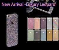 apple sticker rainbow - Luxurious Full Body Bling Diamond Glitter Rainbow Leopard Front Back Sides Skin Sticker cover For Iphone S Plus S S C
