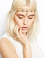 Wholesale Gold Hair Jewelry with Rhinestones Headband Hair Crown Chain Bridal Tiara Accessories Hairpieces Wedding Hair Jewelry for Party Prom Evening