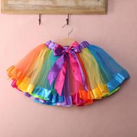 embroidered chiffon lace - Girls Kids Petticoat Rainbow Pettiskirt Bowknot Skirt Tutu Dress Dancewear Y
