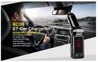 Wholesale Car MP3 Player FM Transmitter with Car Charger LED Display and USB Line in Bluetooth Enabled BC06