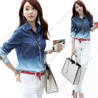 Wholesale Fashion Summer Women s Denim Gradual Blue Jeans single breasted Long Sleeve casual Shirts Blouse SV002258
