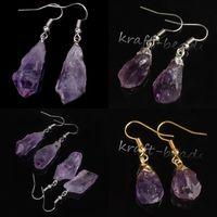 amethyst crystal chandelier - Pair natural Silver Gold Amethyst Durzy Quartz Crystal precious stone Shape Dangle Hook Earring Women Eardrop for jewelry