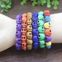 Wholesale Cheap Jewelry skull bracelets Fashion Multicolor Turquoise Skull Strand Bracelets Stretch bracelet Chirstmas Halloween Party Decoration
