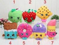 Wholesale 2016 Shopping fruit plush dolls Deluxe Cookie Strawberry Kiss Muffin doughnut lipsticks Chocolate Stuffed emoji Plush pillowsToys Kids Gift