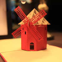 boxed greeting cards - 3D Exclusive Dutch Windmill Kumamoto Handmade D Pop UP boxes birthday Greeting Cards set of