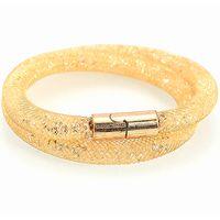 beaded metal mesh - istardust double bracelets metal mesh chain with full resin crystal bracelets inside magnetic wrap bracelet charm bracelet