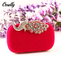 Wholesale Peacock Evening Bag Female Clutch Luxury Elegant Crystal Clutch Hand Bag Evening Bag Evening Hand Bag for Banquet Wedding in Bulk