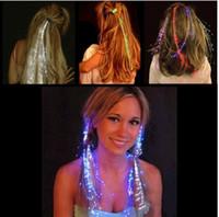 Wholesale Flashing Braids Colorful Flash Hair Braid Luminous LED Hearwear Headdress Dance Bar Props Light Up Fiber Optic Hair Pigtail Christmas Gift