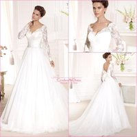 Cheap 2016 Tarik Ediz Boho Wedding Dresses V Neck A Line Lace Long Sleeves Sheer Top backless With Bow Chapel Train Bridal Gowns