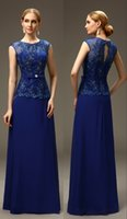 Wholesale Royal Blue Long A line Chiffon Sleeveless Mother of the Bride Groom Evening Dresses Wedding Cheap Mother s Formal Evening Gowns md10016