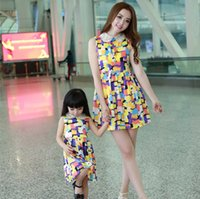 brand clothes cheap - mother and daughter dress summer style Formal babymmclothes european brand chevron print mommy and me clothes cheap HX