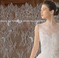 Wholesale 3 Yards wedding lace fabric White Chantilly Lace for Bridal dress CM Width Soft Double Eyelash Edge