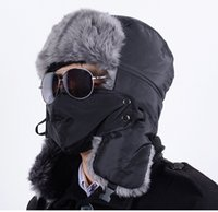 Wholesale Top Quality Winter Warm Windproof Russian Hat For Men Women Thicken Fur Hats Outdoor Skiing Cap With Ear Flaps Masks Bomber Caps H108