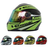 al por mayor cascos de motocicleta xxl-Casco de la cara llena de la motocicleta de la marca de fábrica de Kawasaki Hombres / mujeres que compiten con los cascos Capacete Casco DOT aprobado