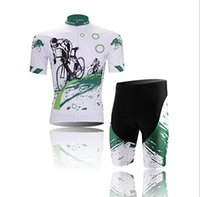 Wholesale 2015 New Print Cycling Jersey Men s Short Sleeve Bicycle Bike Cycling Jersey D Padded Shorts Set Green White New Plus Size XL
