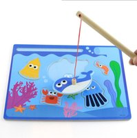 baby fun games - Education Wooden Toy Colourful Game Magnetic Fishing Puzzle Environmental Kids Children baby toys Magnetic Fishing Bug Dinasour Fun Puzzle