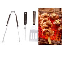 Wholesale 3pcs Stainless Steel BBQ Tools Set Portable Barbecue Tools with Clip Fork Spatula Outdoor Camping order lt no track