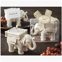 Wholesale 200pcs CCA2257 Hot sale Lucky Elephant Tea Light Candle Holder Ivory Wedding Bridal Shower Decor Light Candles Holder Wedding Gifts