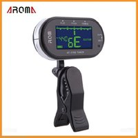 Wholesale Aroma Clip on Electric Tuner Portable Clip Mic Guitar Tuner Backlit LCD Screen for Chromatic Guitar Bass Violin Viola Via DHL