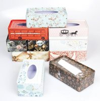 Wholesale Genuine pumping iron metal tissue box pumping tray storage box decorated tin soft loft cafe