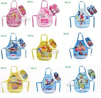 Wholesale NewFrozen Painted Kids Apron With Cuff Popular For Painting Cooking Kitchen Clean Tools princess mickey sofia tomas plane big hero