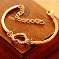 Wholesale Rose Gold Silver Bracelets For Women Charming Link Bracelets Drop Shipping Jewelry Cheap New Heart Shape Crystal Charms Bracelets