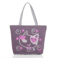 Beau sac fourre-tout de la mode toile femme un sac à bandoulière gadgets sac de loisirs de transport de femmes cat d'impression 4 couleurs disponibles