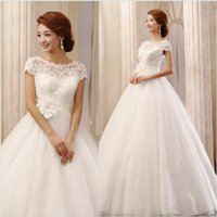 Wholesale 2016 Collection Ball Gown Wedding Dress Sequins Bateau Neck Applique Lace Up Floor Length White Flower Waist Cap Sleeves Tulle Bridal Gowns