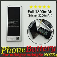 Wholesale Note4 Phone Battery Capacity Real mAh Sticker mAh v Li ion Battery Replacement For MTK6582 MTK6572 Note N910