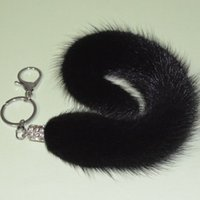 Wholesale Black Fox Tail quot Key Chain with Clip Tassel Bag Car Ornaments Pendant Key Ring Handbag Tag Accessories Charm Keychain Gift