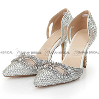 Cheap Bling Silver Crystal Wedding Shoes for Bride Rhinestone Pointed Toe High Stiletto Heels Colorful Bridal Party Prom Bridesmaid Dress Shoes