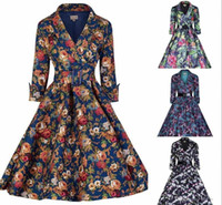 Wholesale 2016 Women Autumn sleeves Cheap Casual Dresses Skirt with Belt Flora Printed Five Colors Ball Gown OXL166