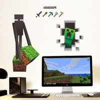 Wholesale New D Minecraft Wall Stickers waterproof Creeper Decorative Wall Decal Wallpaper Kids Party Decoration bed room Christmas Wall Art