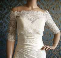 amazing grey - 2016 Amazing Off Shoulders Full Lace Bridal Bolero with Half Sleeves Button Back Jacket Wrap Bridal Accessories