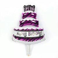 achat en gros de petits gâteaux d'anniversaire-Gros nouveau mini ballon petit gâteau d'anniversaire Ballons Foil Bonne décoration fête d'anniversaire Ballons jouets gonflables F178