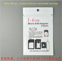Wholesale Cell phone SIM adapter set for iPhone Nano sim restore tray sets with SIM card Pin universal use cellphone sim card accessories