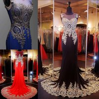 arabic colors - Hot Colors Sheer Neck Prom Evening Dresses Embroidery Real Image Red Black Royal Blue Formal Wedding Party Gowns Wear Arabic Dresses