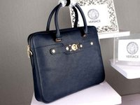 full grain leather - Fashion black blue Full Grain Leather briefcases men