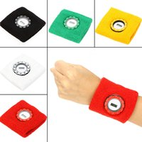 wrist support - Sports Safety Wrist Support Solid Color Cotton Sweat Absorbing Sports Wrist Band with Electronic Watch H14061