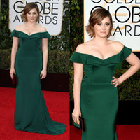 Wholesale 2016 Long Evening Gowns Off Shoulders Ruffles Mermaid Sweep Train Golden Globe Award Rachel Bloom Green Short Sleeve Celebrity Dresses