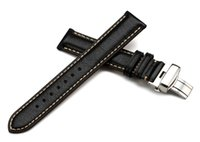 Wholesale Black Genuine Calf Leather Watch Band mm mm mm mm mm Padded Soft Deployment Watch Strap Bracelet Stitched Watchband for Men Women