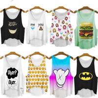 Imprimé floral t-shirts femmes Avis-2015 Nouveau Femmes T-shirt Femmes d'été Tops Emoji / Girl Print T-shirt Femmes Top Casual T-shirts Pour Femmes Blusas
