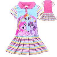 little girls clothing - 5pcs New Girls Summer Dress Clothes Children Kids Cartoon My Little Pony Print Short Sleeve Dresses Kids Tops Tutu Shirts Y