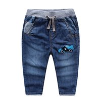 Wholesale Cool NEW arrival Spring Fall Korea Boys denim jeans Cartoon car applique cotton washed Soft jeans for boy Comfort quality pant clothes
