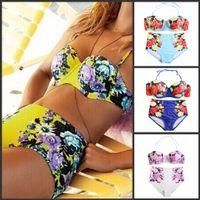 Wholesale PLUS SIZE XXXL Women Newest Vintage print high waist swimsuit triangle bikinis set push up bikini floral swimwear biquini brazili YY