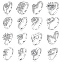 Wholesale 23 Styles Mixed STYLES MIX SIZES sterling Silver fashion charm Beautiful cute Crystal Stone Wedding ring jewelry