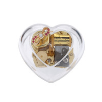 music box movements - Acrylic Heart Shaped Musical Box Windup Music Box Gold Metal Movement Melody Castle in the Sky Exquisite Crafts I1157
