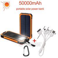 venda por atacado solar cell-Outdoor banco de potência solar 50000mAh portátil powerbank com carregador USB 18650 celular para iPhone ipad Samsung PK Xiaomi banco de potência