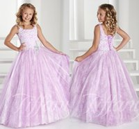 girls pageant dresses size 14 - 2015 Cheap Girl s Pageant Gowns Sleeveless Lace Up Ball Gown Floor Length Full Lace Applique Rhinestone Plus Size Flower Girls Dresses